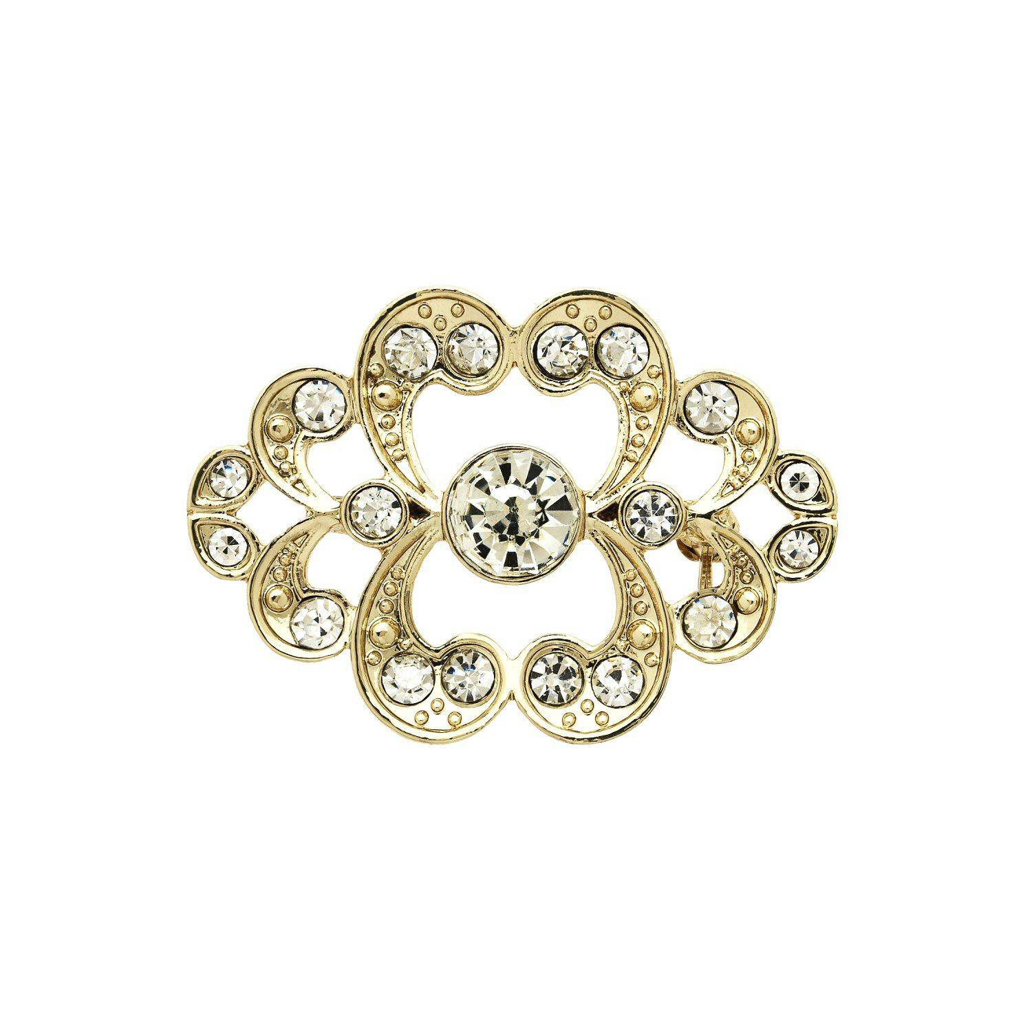 Monet Gold and crystal heart brooch