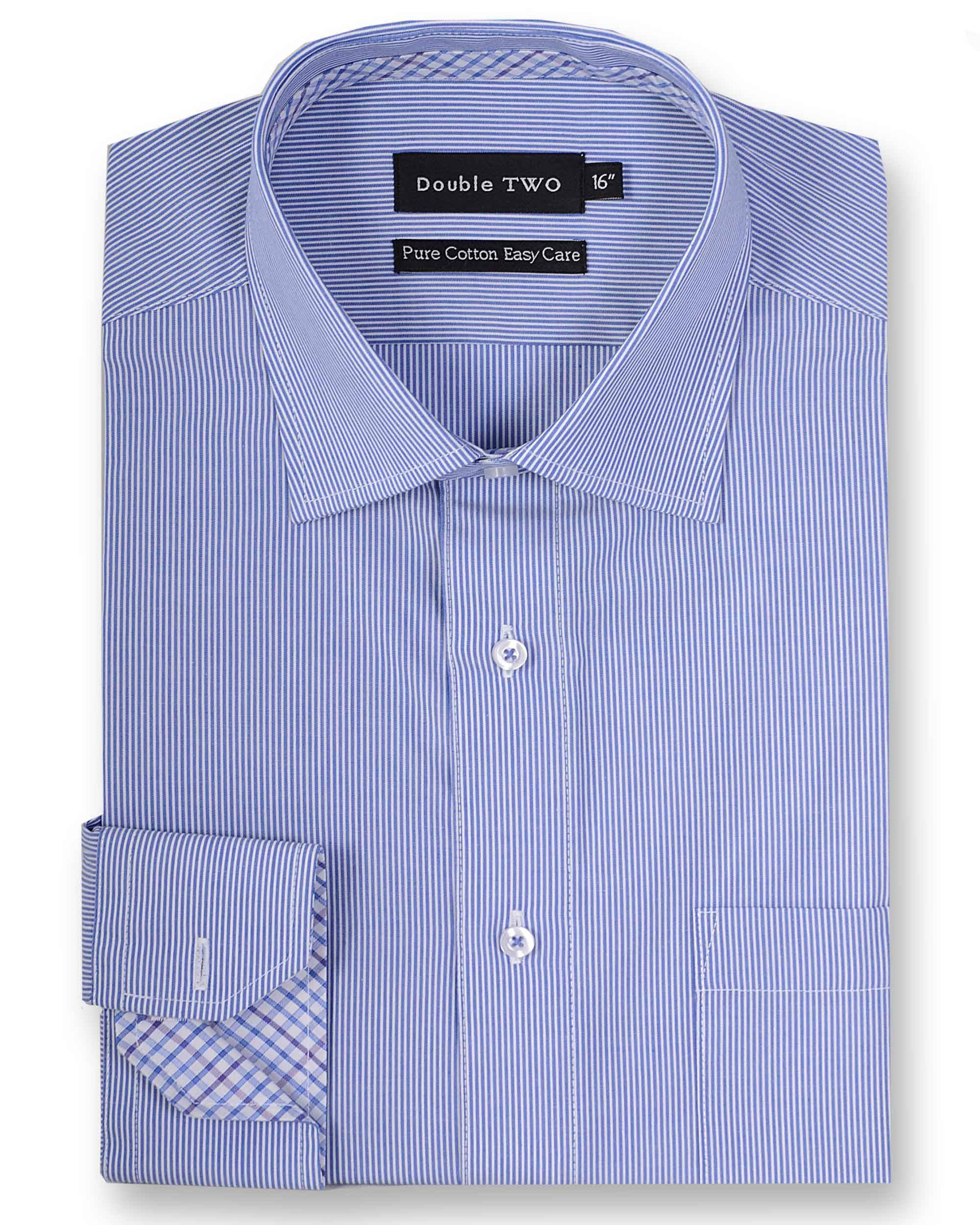 Double TWO Men's Double TWO King Size Stripe Contrast Formal Shirt (19)