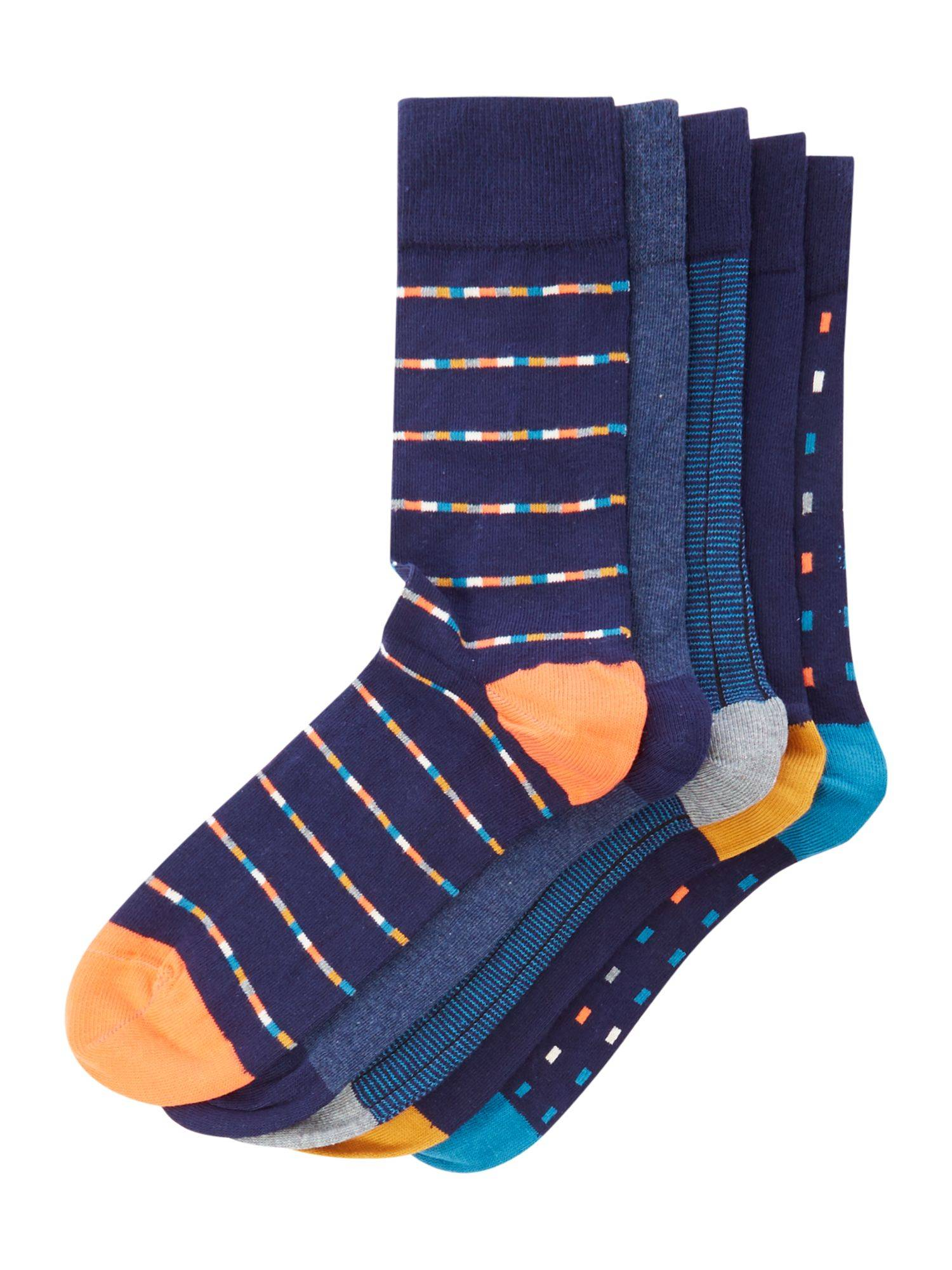 Linea Men's Linea 5 pack dash and stripe socks (One Size)