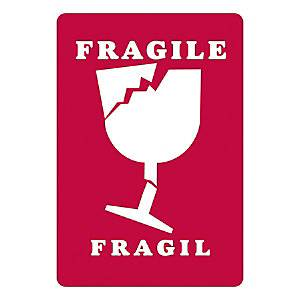 Fragile packaging labels, Fragile wine glass, 152x50mm, roll of 250