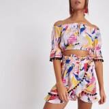 River Island Womens Pink tropical co-ord wrap beach skirt (Size S)