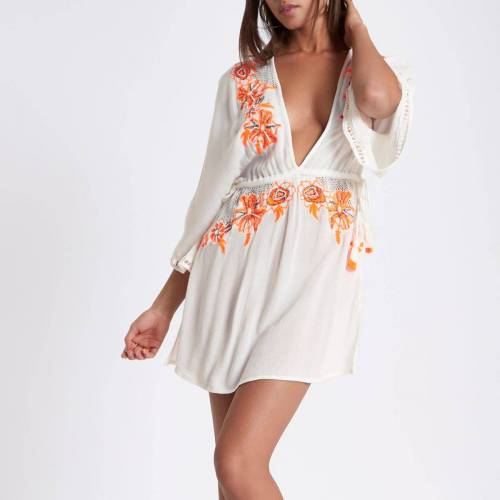 River Island Womens Cream floral embroidered beach cover up (Size M)