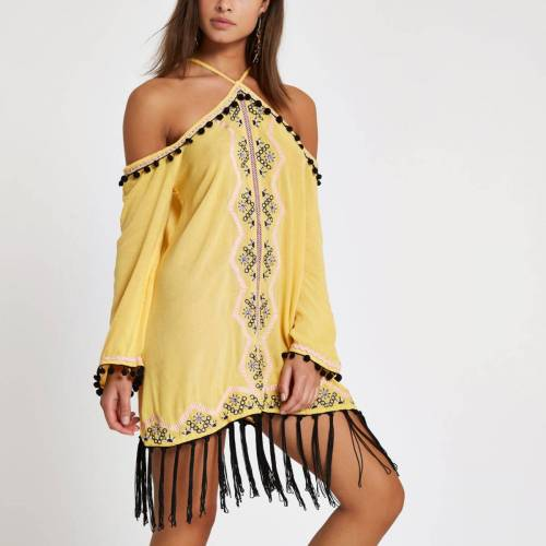 River Island Womens Yellow high apex embroidered beach dress (Size M)