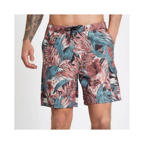 River Island Mens Red palm leaf floral print swim shorts (Size S)