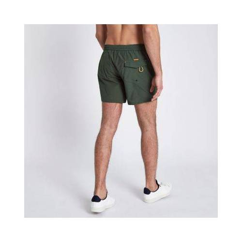 River Island Mens Khaki green zip pockets short swim shorts (Size S)
