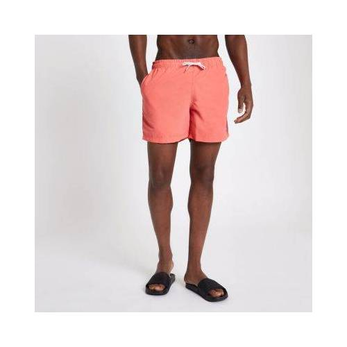 River Island Mens Black and coral swim shorts pack (Size S)
