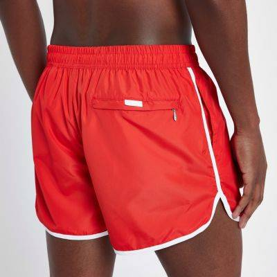 River Island Mens Red stripe side short swim shorts (Size XS)