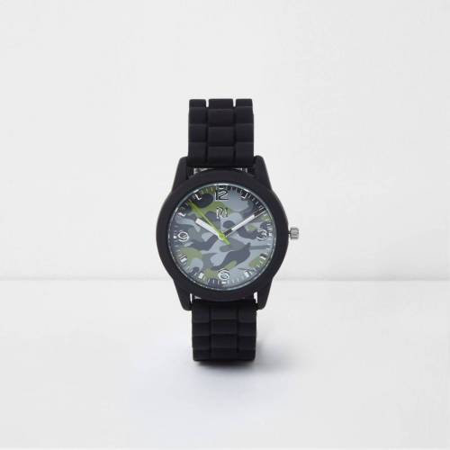 River Island Boys Black camo round face rubber watch (One Size)