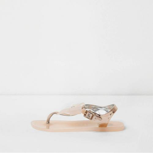 River Island Girls rose Gold diamante bow jelly sandals (Size 3)