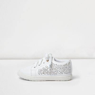 River Island Mini girls White floral laser cut plimsolls