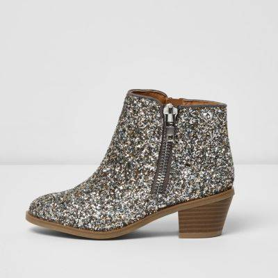 River Island Girls Silver glitter ankle boots