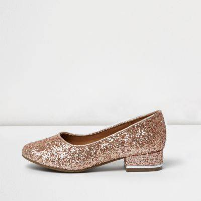 River Island Girls rose Gold glitter court shoes