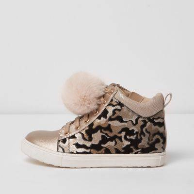 River Island Girls Cream camo print high top trainers