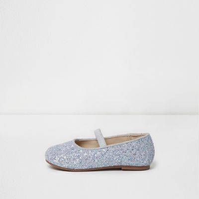 River Island Mini girls Silver glitter ballet shoes