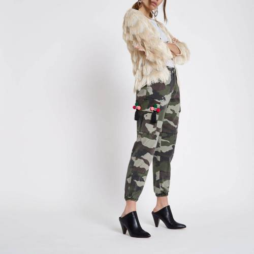 River Island Womens Green camo print embellished joggers (Size 14)