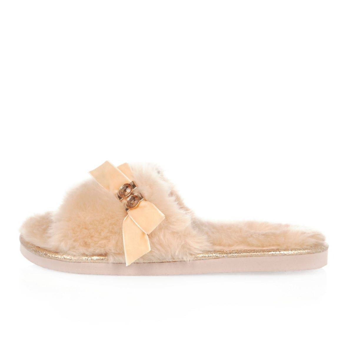 River Island Womens Pink fluffy bow slider slippers