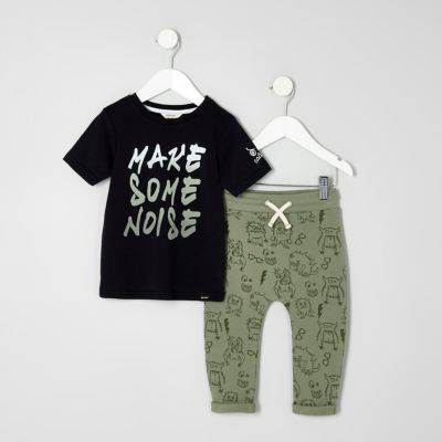 River Island Mini boys T-shirt and monster joggers outfit