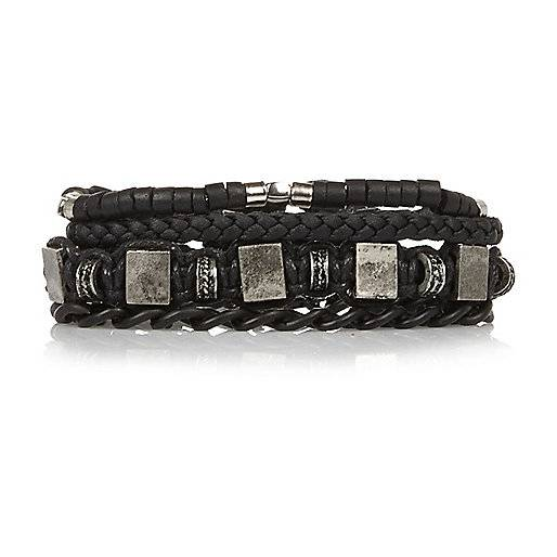 River Island Mens Black beaded bracelets pack