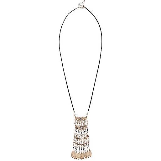 River Island Womens Gold tone beaded pendant necklace