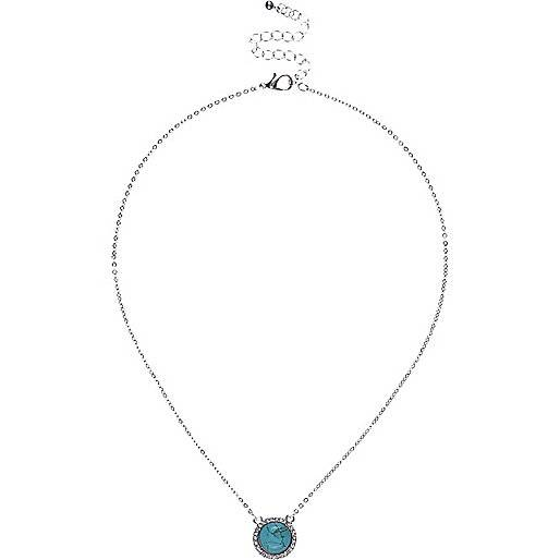 River Island Womens Silver tone turquoise stone necklace