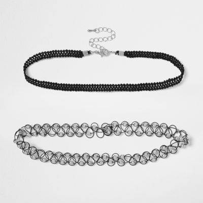 River Island Womens Black and silver '90s choker pack