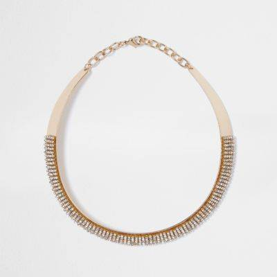 River Island Womens Gold tone pave diamante necklace