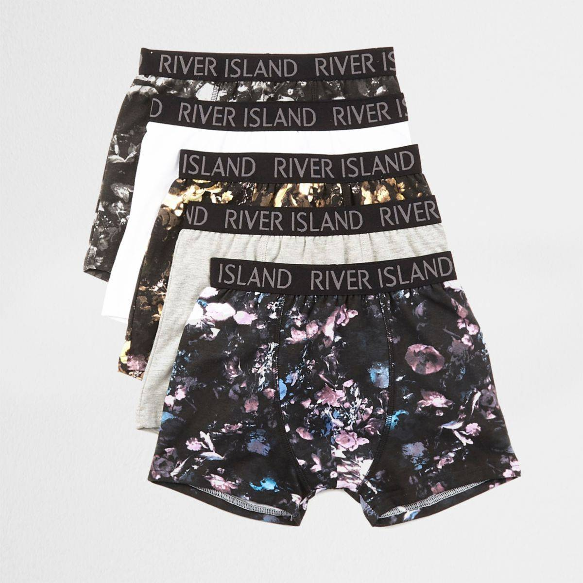 River Island Boys Black floral print trunks multipack (Size 5 - 6 Years)