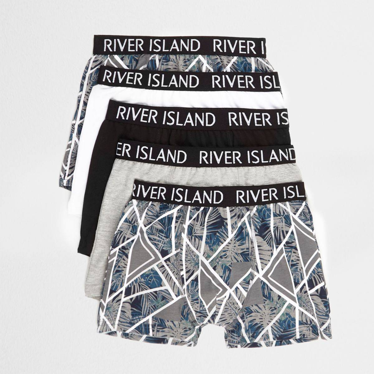 River Island Boys Grey floral geo trunks multipack (Size 7 - 8 Years)