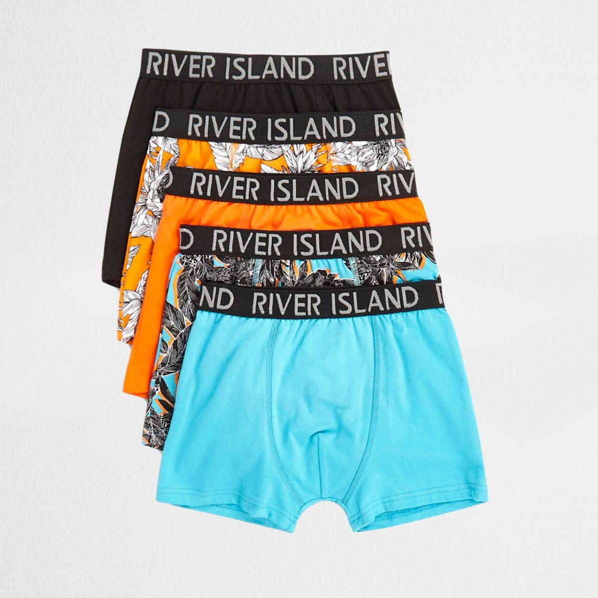 River Island Boys Orange tropical print trunks multipack (Size 7 - 8 Years)