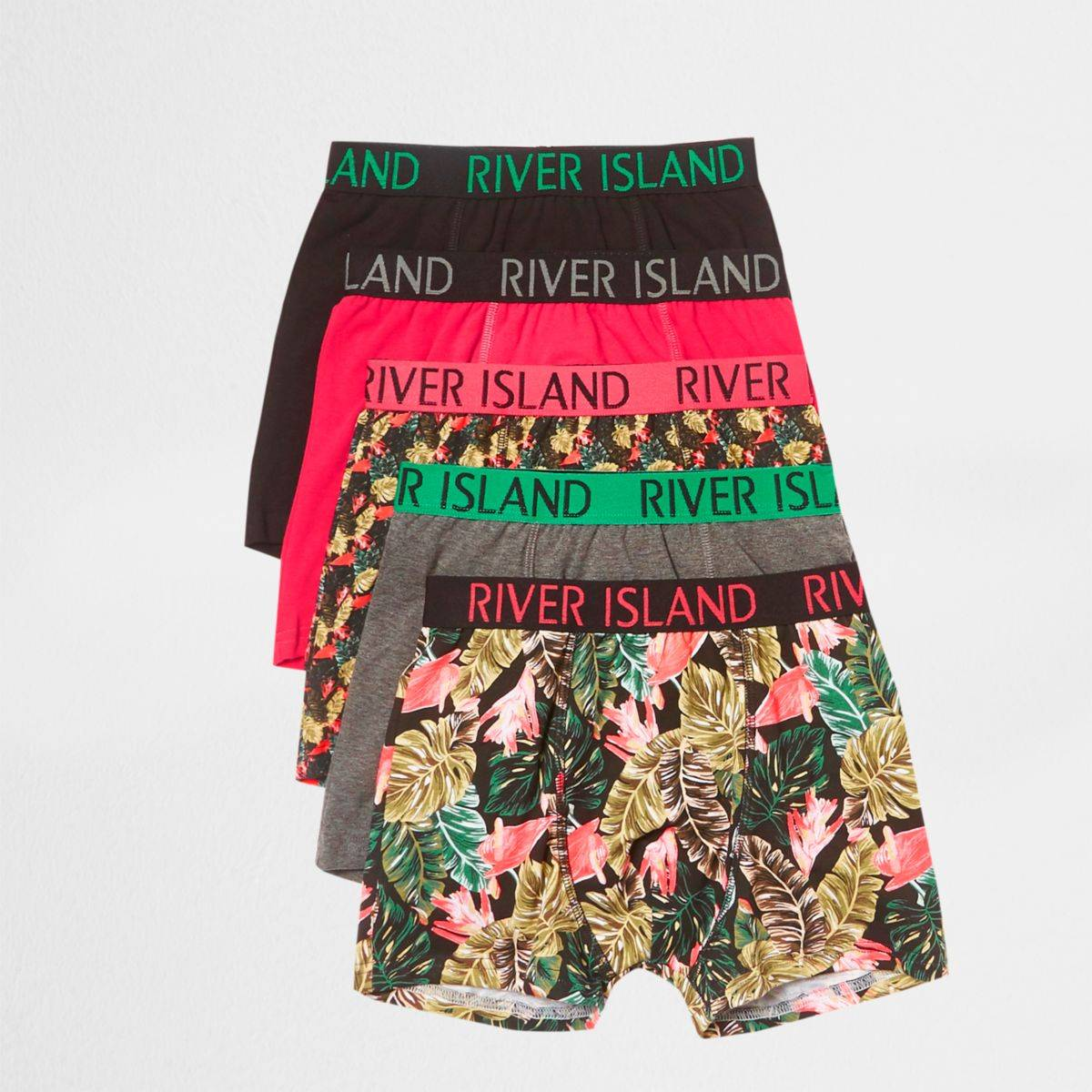 River Island Boys Pink tropical print trunks multipack (Size 9 - 10 Years)