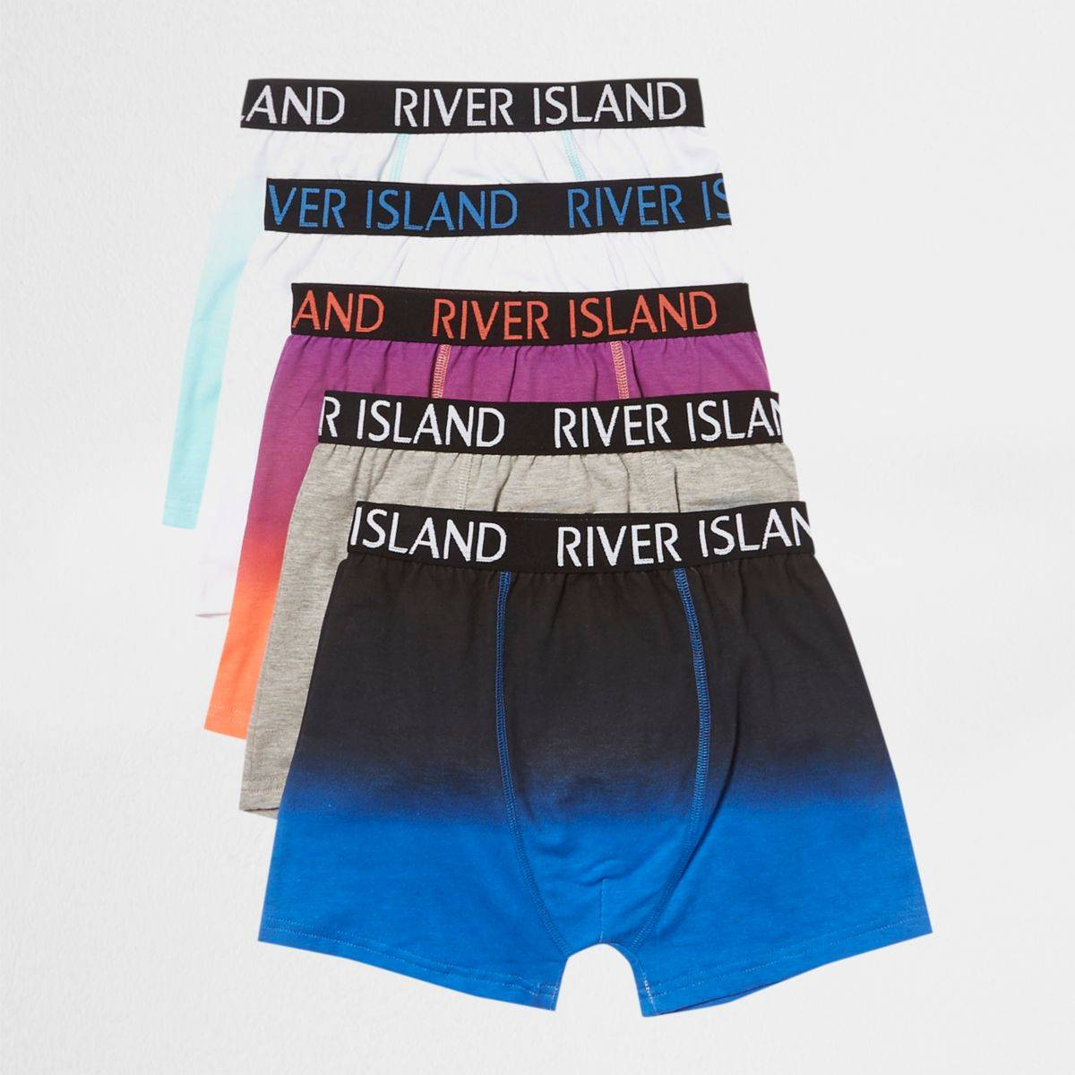 River Island Boys Blue marl RI branded trunks multipack (Size 5 - 6 Years)