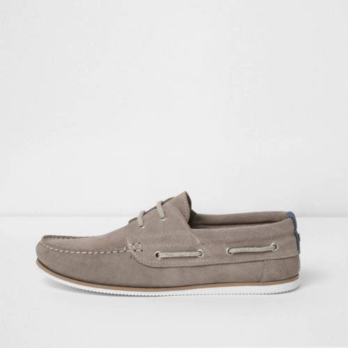 River Island Mens Grey suede lace-up boat shoes (Size 8)