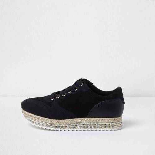 River Island Womens Black stacked espadrille sole runner trainers (Size 3)