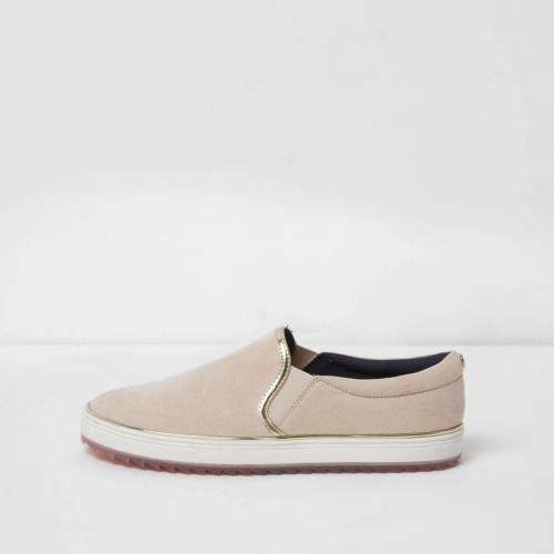 River Island Womens ​Light Pink slip on plimsolls (Size 5)