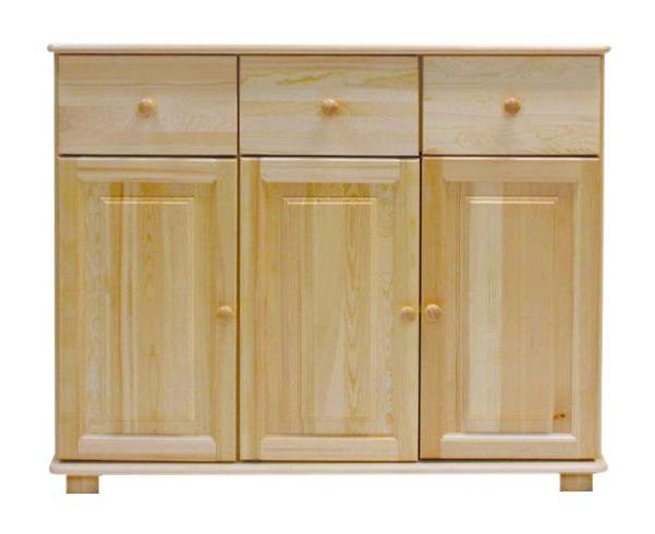 Steiner Shopping Furniture Sideboard 043, 3 door, 3 drawer, solid pine wood, clearly varnished - 100H x 118