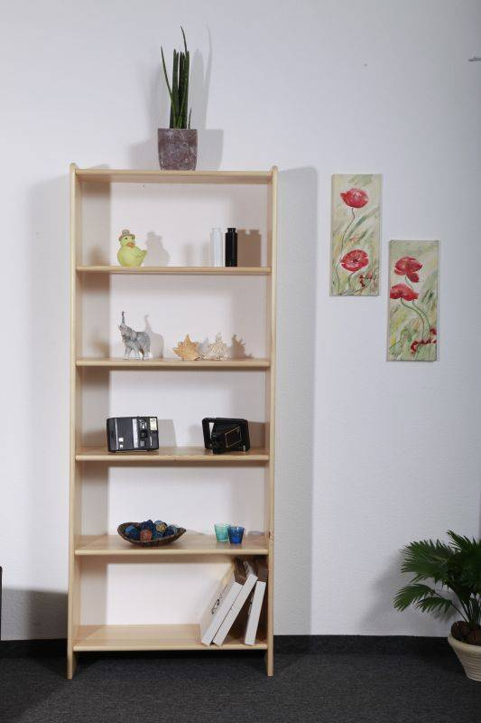 Steiner Shopping Furniture Tall 200cm Basic Bookcase 001, solid pine wood, clearly varnished - H200 x W60 x