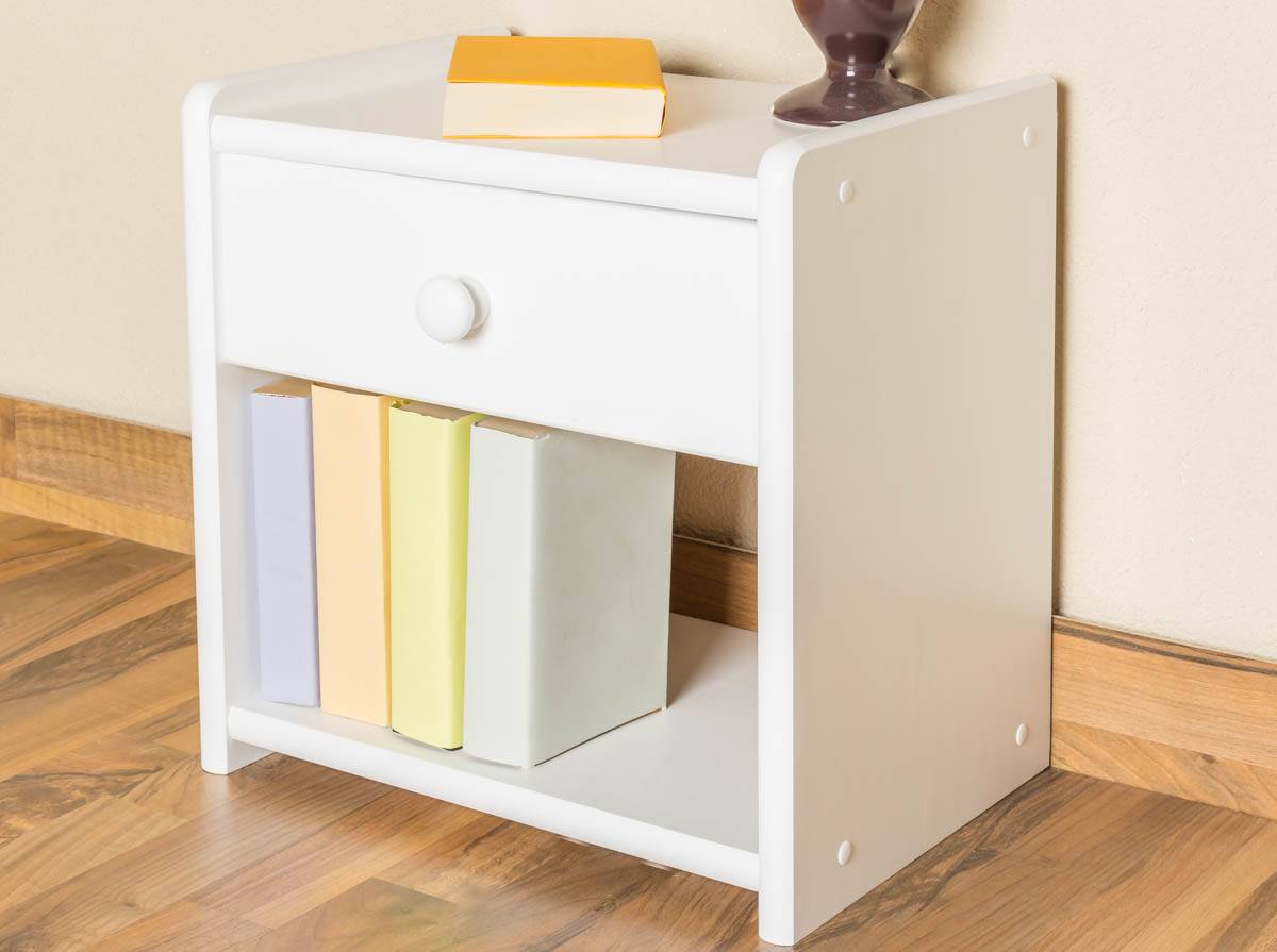 Steiner Shopping Furniture Bedside table solid pine wood, in a white paint finish Junco 126 - Dimensions 40