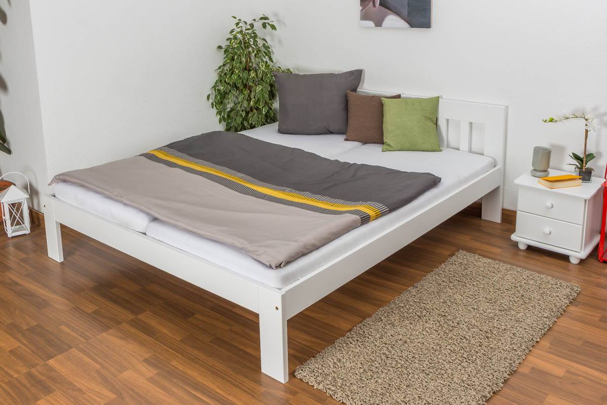 Steiner Shopping Furniture Youth bed solid pine wood, in a white paint finish 75, solid, natural pine wood