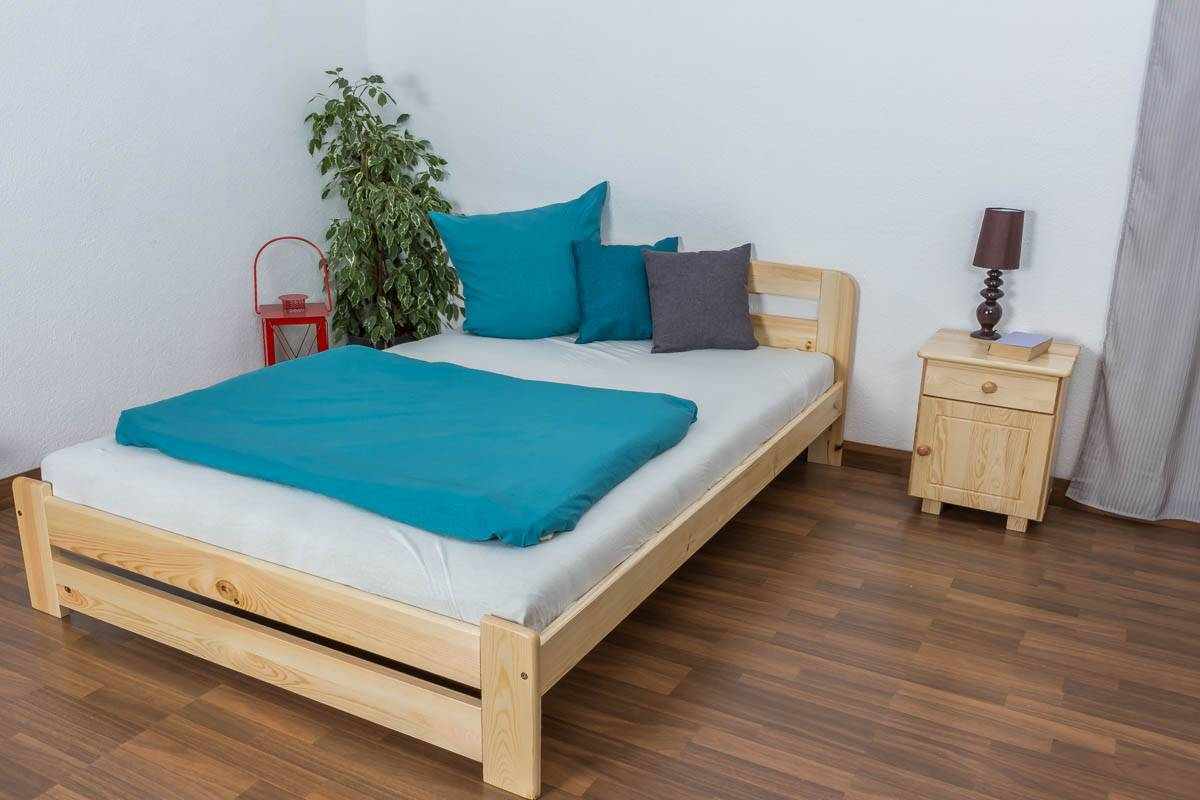 Steiner Shopping Furniture Single bed A7, solid pine wood, clearly varnished, incl. slatted frame - 140 x 2