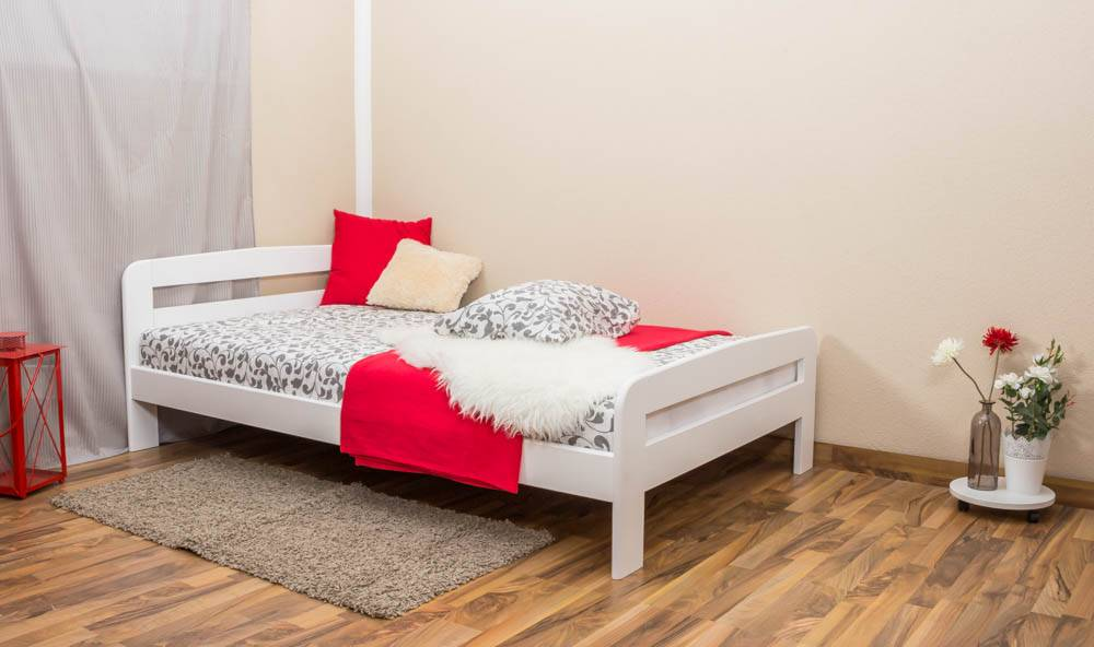 Steiner Shopping Furniture Single bed / Guest bed A6, solid pine wood, white finish, incl. slatted frame -