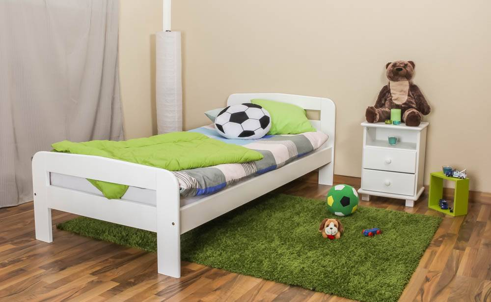 Steiner Shopping Furniture Childrens bed / Youth bed A6, solid pine wood, white, incl. slats - 90 x 200 cm