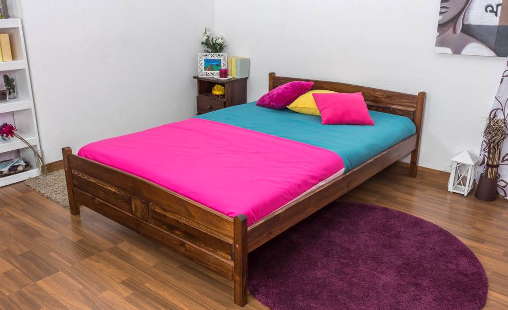 Steiner Shopping Furniture Youth bed A13, solid pine wood, nut finish, incl. slats - 140 x 200 cm