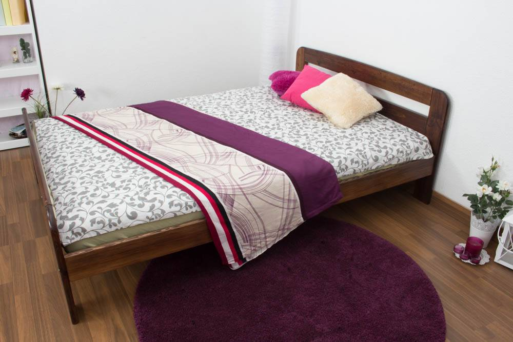 Steiner Shopping Furniture Childrens bed / Youth bed A6, solid pine wood, nut finish, incl. slats - 140 x 2
