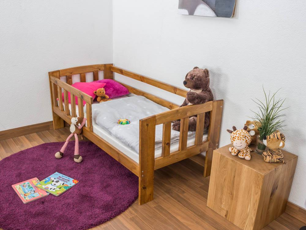 Steiner Shopping Furniture Toddler bed A17, solid pine wood, oak finish, with slats and mattress - 70 x 160