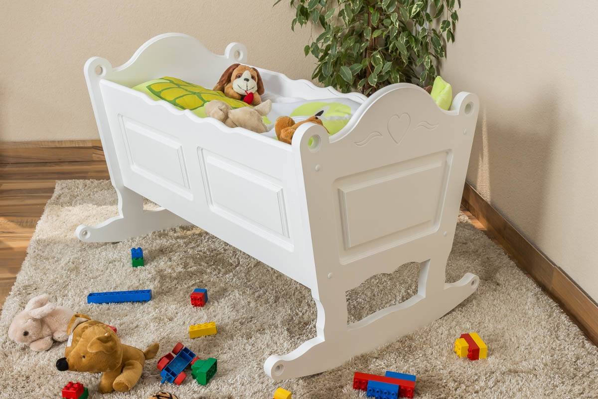 Steiner Shopping Furniture Crib solid, natural pine wood 105, incl. slatted frame - Dimensions 34,50 x 90 c