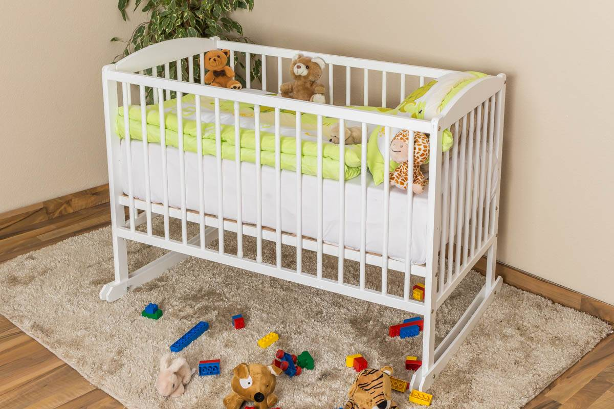 Steiner Shopping Furniture Crib solid, natural pine wood 104, incl. slatted frame - Dimensions 60 x 120 cm
