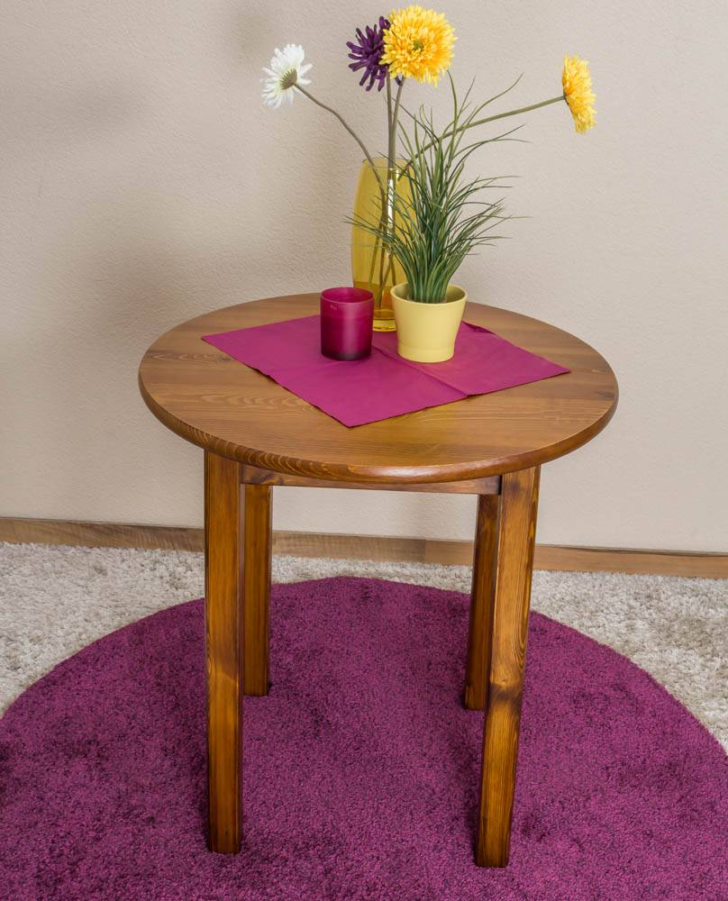 Steiner Shopping Furniture Round Side Table 003, pine wood, solid, oak finish - H75 cm - �80 cm