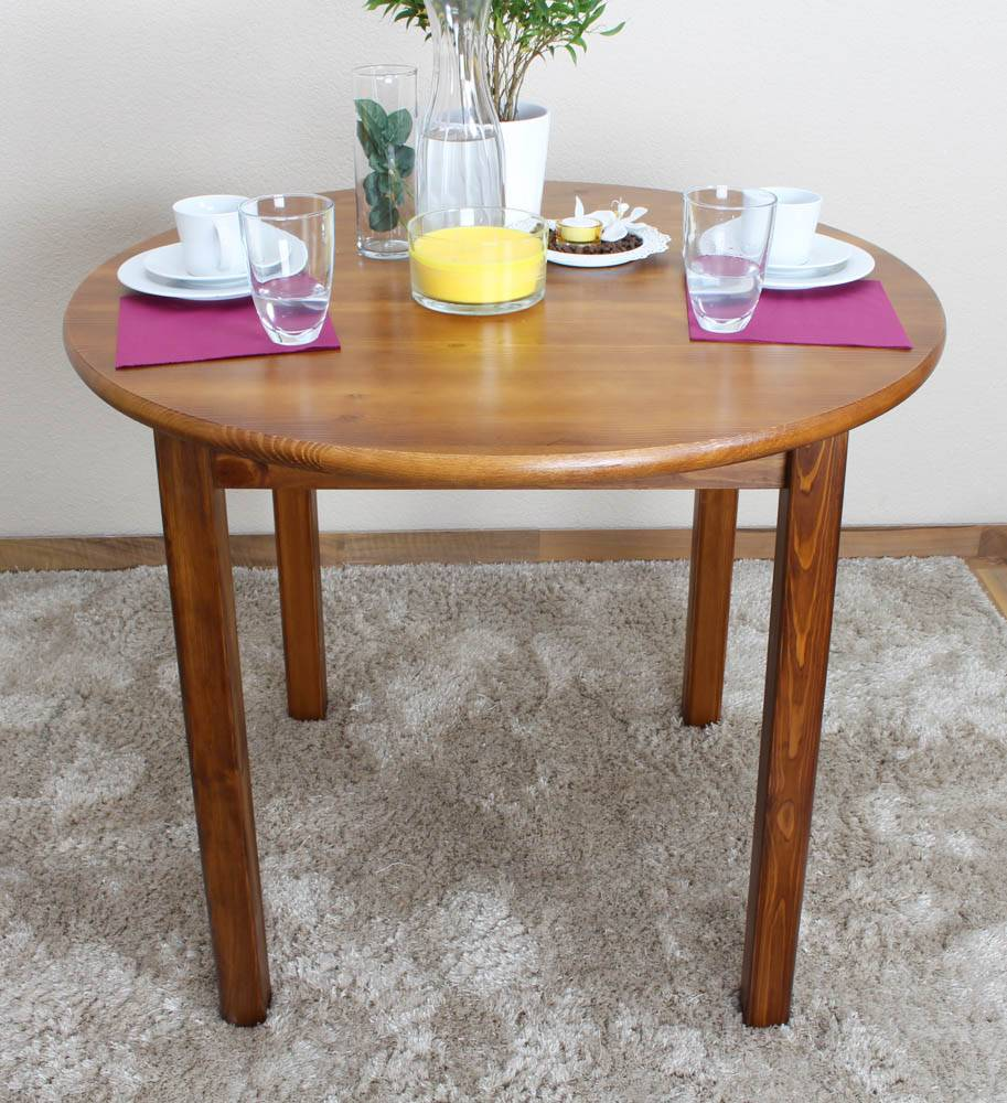 Steiner Shopping Furniture Round Dining Table 003, pine wood, solid, oak finish - H75 cm - �90 cm