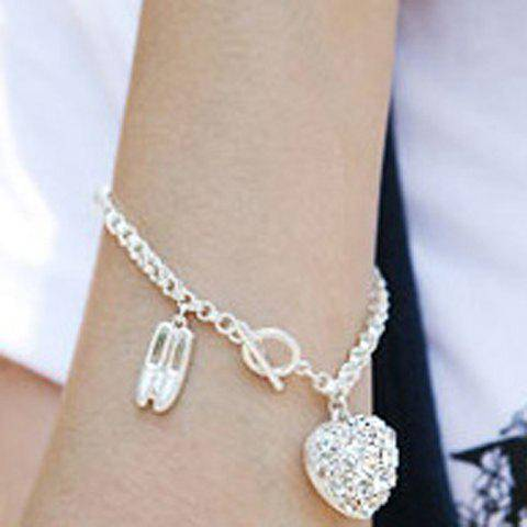 rosegal Exquisite Ballet Shoes and Heart Pattern Rhinestoned Pendent Bracelet For Women