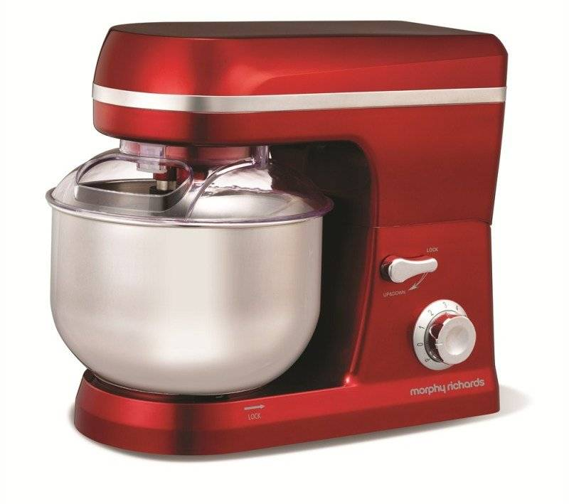 Morphy Richards 800W 5 Litre Accents Plastic Stand Mixer Red